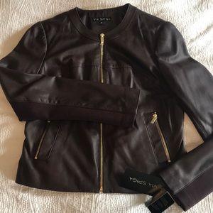 VIA SPIGA 100% lamb leather zip-up jacket